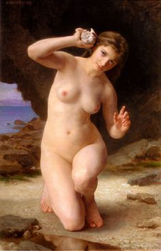 sotyouthinkyoucansee on tumblr-William-Adolphe Bouguereau - Woman with Seashell,