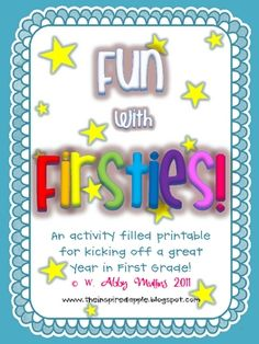 This is an activity-filled printable to use to kick off a great start to first grade!Inside you will find...- Title Page {p.1}- Note/Table ...
