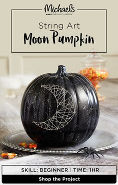 Looking for no-hassle Halloween décor? Here's a DIY that won't string you along! This String Art Moon Pumpkin is just in time for fall and easy to create with just a few simple steps. Find the complete how-to and more on the Michael's project page.