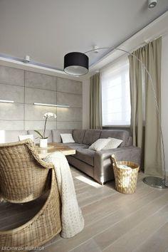 Zdjęcia salonu: pokój dzienny z dekoracyjną ścianą z betonu