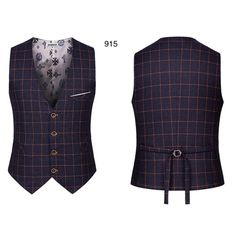 Gilet de Costume à Carreaux Homme Vintage 4 Boutons