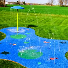 Ohio backyard splash pad with Umbrella and custom Lake themed safety surface with Koi Fish, Dragon Flies, Frogs, Lilly Pads and Turtles.