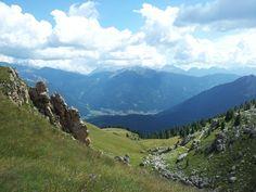 Veduta in quota di Moena (Val di Fassa)