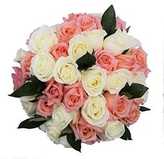 50 Mothers Day Farm Fresh White and Pink Roses Bouquet By JustFreshRoses  Long Stem Fresh White and Pink Rose Delivery  Farm Fresh Flowers * You can find out more details at the link of the image.