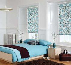 coole schlafzimmer farbpalette blau braun teppich blumenmuster