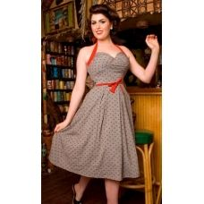 BETTIE PAGE Sailor Red ANCHORS Gray Bombshell Swing Skirt Dress