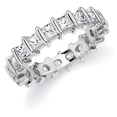 Introducing 18K White Gold Diamond Princess Cut Bar Eternity Ring 10 cttw FG Color VVS2VS1 Clarity Size 13. Get Your Ladies Products Here and follow us for more updates!