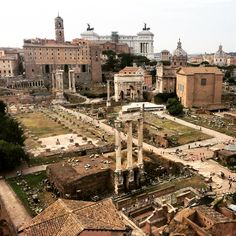 Roman Forum with the Victor Emmanuel Monument in the background.
