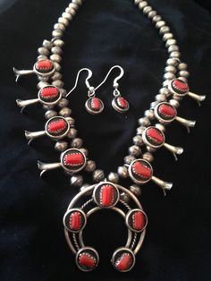Navajo Sterling Silver Red Coral Baby Squash Blossom Necklace Signed