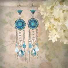 Faerie Splendor - Unique Romantic Aqua Opal Blue Chandelier Earrings - Silver, Fantasy, Gypsy, Artisan Jewelry, Boho Bohemian, Beach Wedding via Etsy