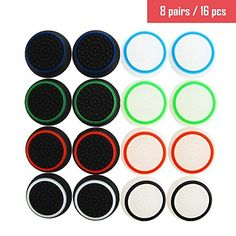 SKINOWN Pack of 8 Pairs16 Pcs Replacement Silicon Thumb Grip Caps for PS2PS3PS4 Xbox 360Xbox One Controller *** Check out this great product.Note:It is affiliate link to Amazon.