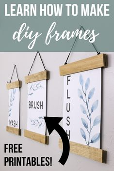 DIY Frame For Printables (+ Free Bathroom Printables) - Home Decor Ideas & DIY Home Projects - Learn how to make these easy DIY frames to hang pictures, art or printables in your house for decor - Diy Wall Decor, Decor Crafts, Diy Home Decor, Diy Crafts, Frame Crafts, Decor Room, Home Depot, Wood Picture Frames, Picture On Wood