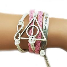 """Harry Potter Deathly Hallows Bracelet with """"Infinity"""" Charm,Braided Bracelet for Girls"""
