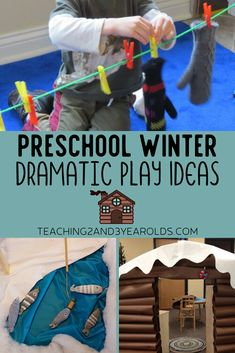 Add some snowy winter fun to your dramatic play area, from ice skating to a snowy winter cabin. #winter #dramaticplay #preschool #toddler #pretend #printable #2yearolds #3yearolds #teaching2and3yearolds Dramatic Play Themes, Dramatic Play Area, Dramatic Play Centers, Camping Dramatic Play, Snow Dramatic Play, Preschool Dramatic Play, Winter Fun, Winter Theme, Montessori Activities