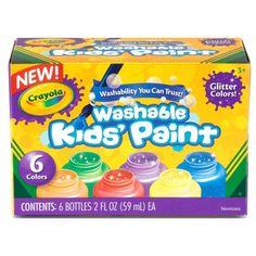 Washable Paint Bottles, Crayola®, Glitter Paint, 6 Colors, BIN542400