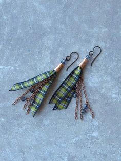 Cornish tartan earrings by HandmadeEarringsUK on etsy