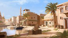 ArtStation - Oasis Town, Vincent Lau Desert Environment, Environment Concept Art, Environment Design, Fantasy Town, Fantasy World, Fantasy Map, Landscape Concept, Fantasy Landscape, Tower Defense