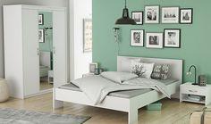 Chambre à coucher complète blanche MARTY: http://www.basika.fr/meuble-chambre-adulte-complete.htm
