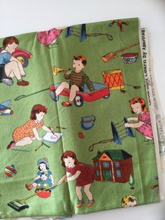 Look & Learn Green Retro Kids Playing with Vintage Toys American Jane for Moda Fat Quarter Quilt Fabric Sewing Fabric Retro Fabric by littleswedeheart on Etsy