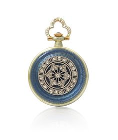 A Yellow Gold, Platinum, Diamond and Polychrome Enamel Open Face Pendant Watch, 27.00 mm case diameter, matte gilt dial, Arabic numerals, blued steel moon hands, subdial for seconds at 6 o'clock, grey-blue and white enamel bezel, the scalloped bow accented in white enamel, the reverse surmounted with a platinum openwork plaque containing 37 rose cut diamonds over translucent grey-blue enamel on an intricately engraved ground, stem wound and set mechanical movement. 11.80 dwts.
