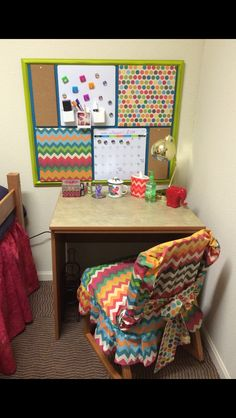 DIY organization board with covered cork, magnetic dry erase boards, and magnetic calendar and matching dorm chair cover Dorm Chair Covers, Dorm Bulletin Boards, Dorm Chairs, Magnetic Calendar, Dry Erase Board, Diy Organization, Fabric Covered, Cork, Thrifting