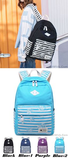 Retro Stripes Flowers Student Bag Large Travel Striped Canvas School Backpack for big sale ! #sexy #lingerie #canvas #backpack #bag #stripe Backpacks For Teens School, Backpack For Teens, School Bags, College Backpacks, Teen Winter Outfits, Teenage Girl Outfits, Teenager Outfits, Lace Backpack, Striped Backpack