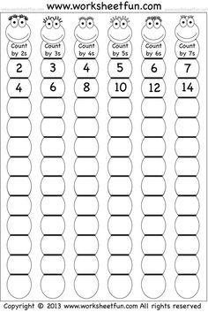 Skip Counting by and 7 – Worksheet / FREE Printable Worksheets – Worksheetfun Math Strategies, Math Resources, Math Activities, Multiplication Strategies, Skip Counting Activities, Multiplication Activities, Math Math, Math Fractions, Math Games