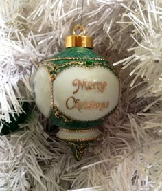 """An Irish Christmas Ornament designed with a delightful Victorian look, and highlighted in gold and green. Porcelain 4""""."""