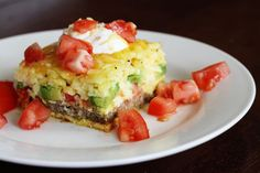 For Mothers Day Brunch - California Breakfast Casserole with Turkey Sausage, Fresh Tomatoes, Avocados, Eggs and Cheddar Cheese - The prepackaged hashbrowns and turkey sausage patties could be replaced with a homemade versions. Breakfast Desayunos, Breakfast Dishes, Breakfast Casserole, Breakfast Recipes, Frozen Breakfast, Nutritious Breakfast, Breakfast Ideas, Dinner Recipes, Breakfast Cooking