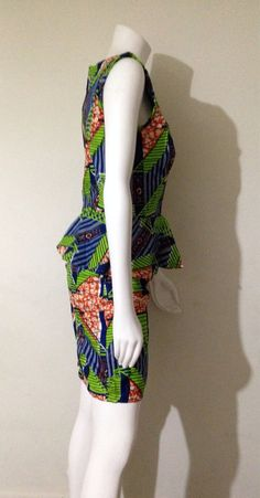 100% Vlisco African Print Peplum Dress by AGirlNamedGrey on Etsy