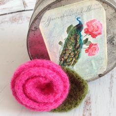 Listing. Cute little Crochet flower Pin Brooch This punish adorable. Cute crochet flower in magenta and green. Jewelry Brooches
