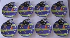 Eight ( 8 ) Dancing Spider Halloween Dessert / Salad Plates by Nantucket. Wonderful addition for your Halloween table setting! | eBay!