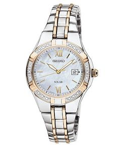 Seiko Watch, Women's Solar Diamond Accent Two Tone Stainless Steel Bracelet 27mm SUT068 - All Watches - Jewelry & Watches - Macy's