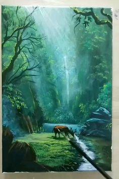 Canvas Painting Tutorials, Diy Canvas Art, Acrylic Painting Inspiration, Art Painting Gallery, Acrylic Art, Landscape Art, Watercolor Art, Drawings, Magical Paintings