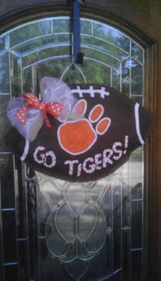 Clemson Tigers burlap door hanger