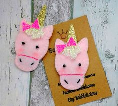 1 Handmade Felt and Glitter Unicorn Hair clip by CottonFeltandpins