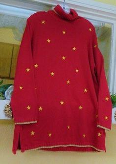 Quacker Factory Stars Holiday Turtleneck Sweater S NWOT Red Gold Metallic #QuackerFactory #Tunic