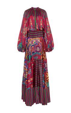 Silk Printed Milwaukee Bell Sleeved Maxi Dress  by Stella Jean Now Available on Moda Operandi