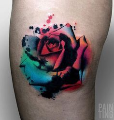 Watercolor Rose Tattoo #watercolortattooideas