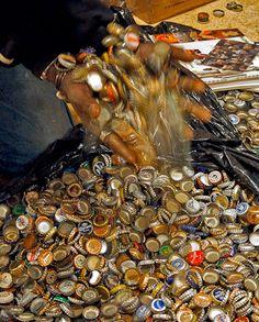 Bottle caps are one of Mr. Imagination's signature materials in his recent work.