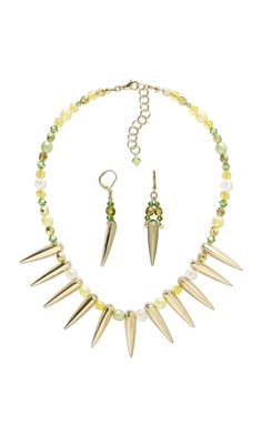 """Jewelry Design - Single-Strand Necklace and Earring Set with Gold-Finished """"Pewter"""" Focals, Czech Fire-Polished Glass Beads and…"""