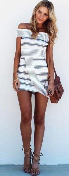 #summer #trending #fashion | Nautical Stripe OTS Dress