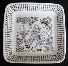 Vintage Arabia of Finland Emilia Black & White Square Bon Bon Plate Tray Dish in Pottery & Glass, Pottery & China, China & Dinnerware William Morris, Blue Blaze, Square Plates, China Painting, Baby Art, Doodle Drawings, China Dinnerware, Mid Century Design, Second Hand