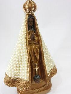 Nossa Senhora Aparecida com pérolas - 28 cm