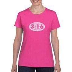 Los Angeles Pop Art Women's John 3:16 inch T-Shirt, Size: Small, Pink