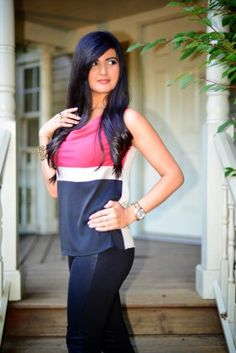 Color Block Top with Faux Leather Pants and Christian Louboutin Pumps-002