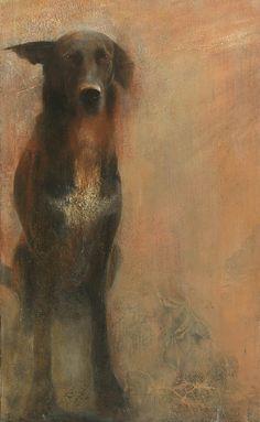 Mary Anne Aytoun Ellis, Dog (2012), Egg Tempera and Sepia Ink on Panel 32 x 17 ins