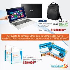 Reclama dos boletas para el sorteo #CompugreiffTeMotoriza comprando Portátil Asus S400CA + Licencia Office Hogar y Pequeña empresa 2012 , además recibe Gratis un Morral Klip Xtreme para que lleves tu equipo donde quieras.  @Microsoft Colombia