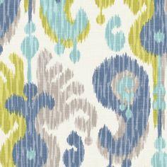Blue & Green Giant Ikat Linen Fabric | Indian Summer : Stillwater | Loom Decor
