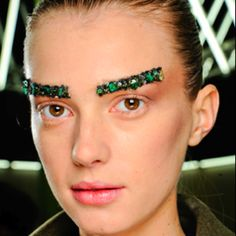 Sequinned eyebrows at Chanel
